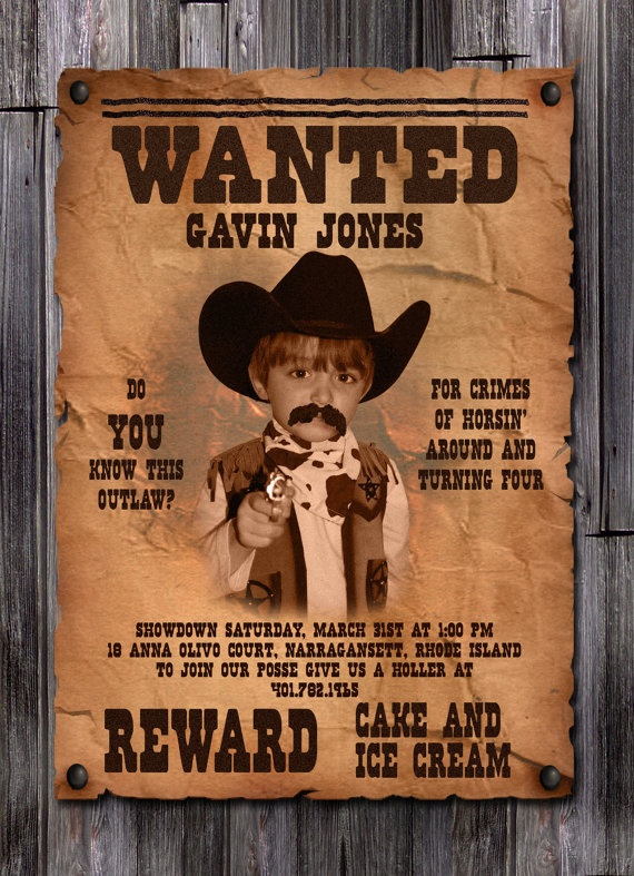 Invite ideas birthday cowboy birthday boys hoedown party ideas cowgirl birthday boss for Wanted poster ideas