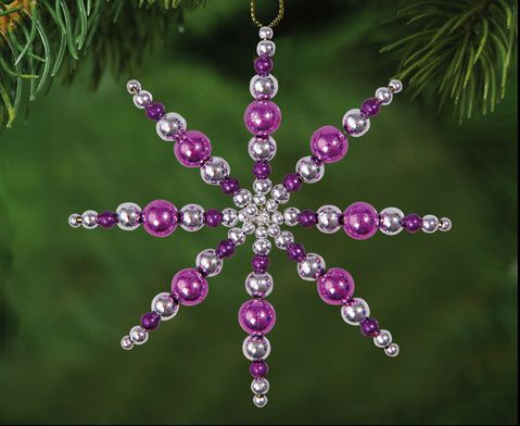 Tolle Sterne für den Weihnachtsbaum: Draht-Sterne-Set Lila-Pink-Silber, Material für 12 Drahtsterne inkl. 500 verschiedenen Perlen