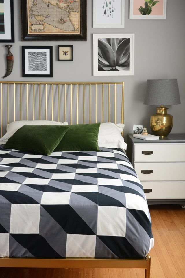 Don't be intimidated by quilting, it's just cutting and sewing in straight lines. Create a modern wall hanging or quilt with fabric and a sewing machine.