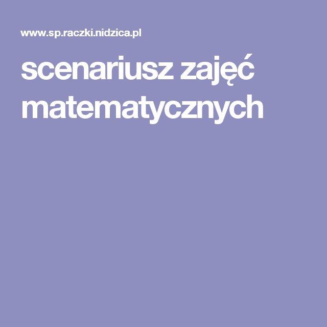 scenariusz zajęć matematycznych