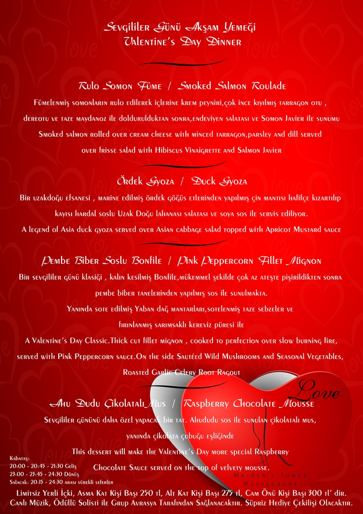 Kizkulesi'nde Sevgililer Günü Akşam Yemeği Menu  Valentine's Day Dinner menu  #kizkulesi #maidenstower #sevgililergünü #valentinesday #istanbul #turkey  #travel #restaurants #tourism #love #aşk #winter #picoftheday