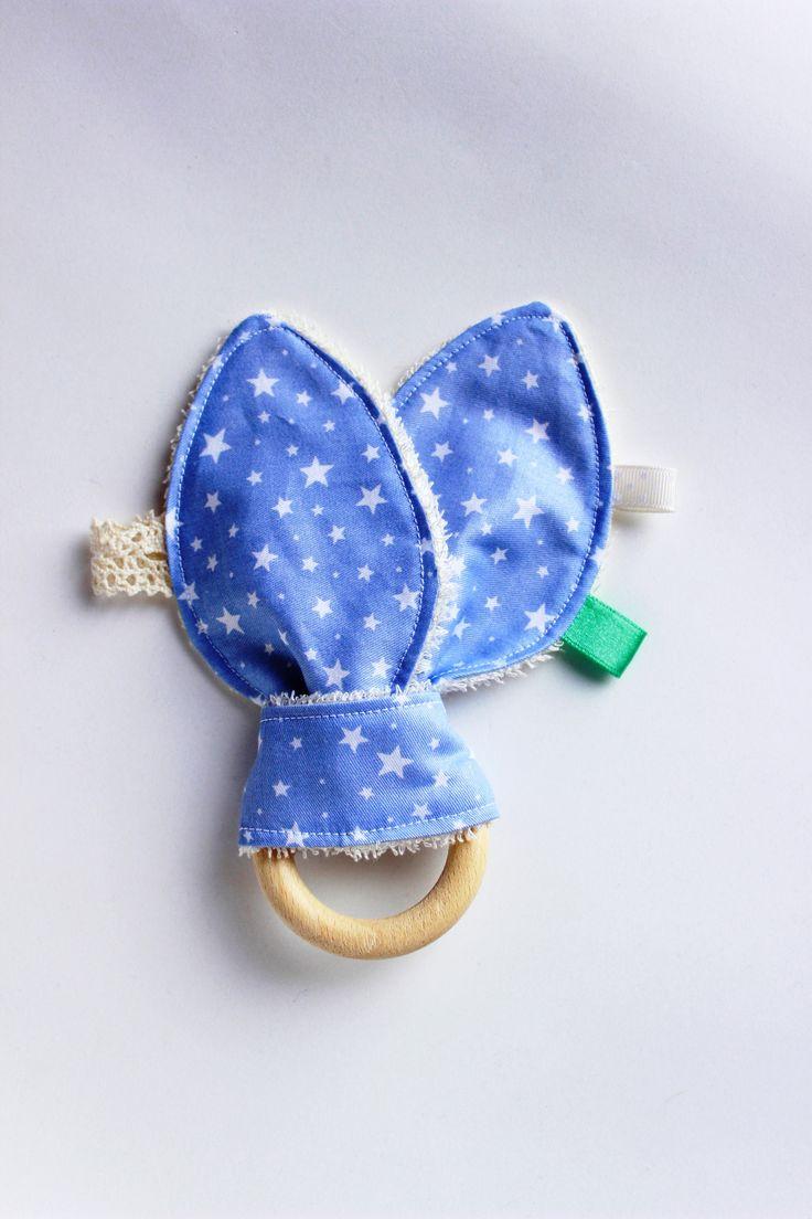 Star baby teething toy, Bunny ear teether, Wood teething ring, Organic baby teether, Teether toy, Baby teething toy, Baby boy gift
