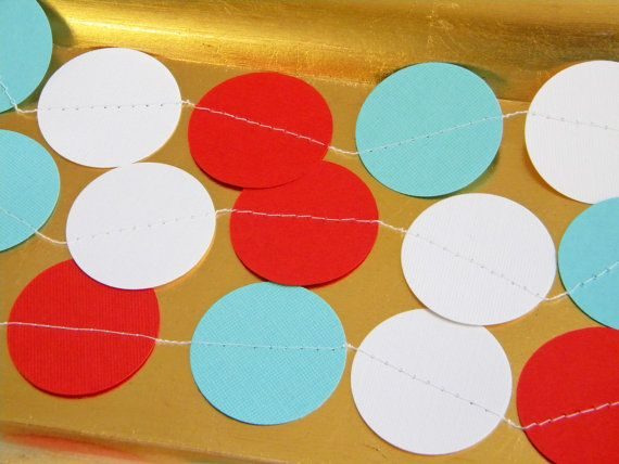 Kids Vintage Circus Carnival Red White Aqua Party Decoration Paper Garland Birthday Party, Nursery, Baby, Bridal Shower 10 feet on Etsy, $10.00