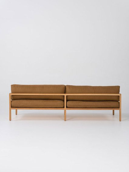 RD Sofa - 'Full' size - American Oak frame with  Chestnut linen upholstery
