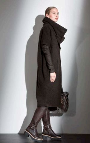 ANNETTE GORTZ PORTO BROWN WOOL LEATHER COAT