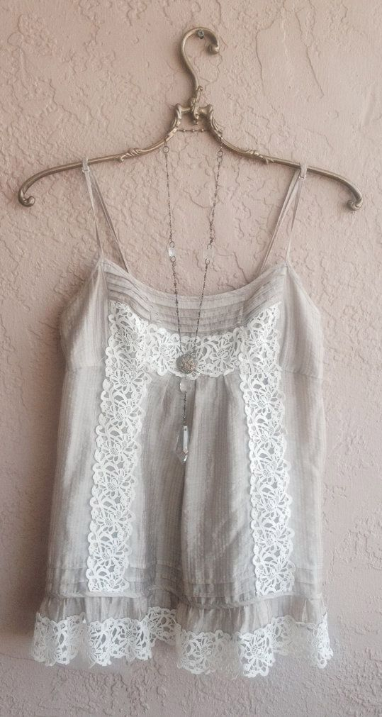 Lavender Mocha lace little camisole with crochet