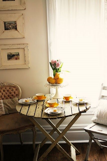 Yellow Teacups in the Morning.