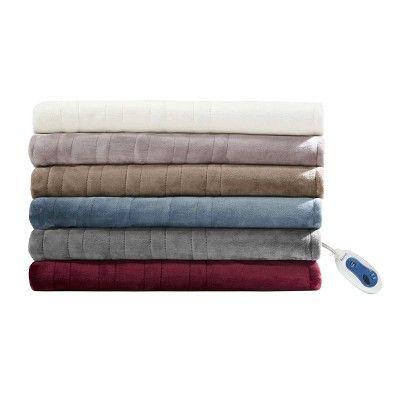 Plush Heated Blanket (Queen) Sapphire Blue