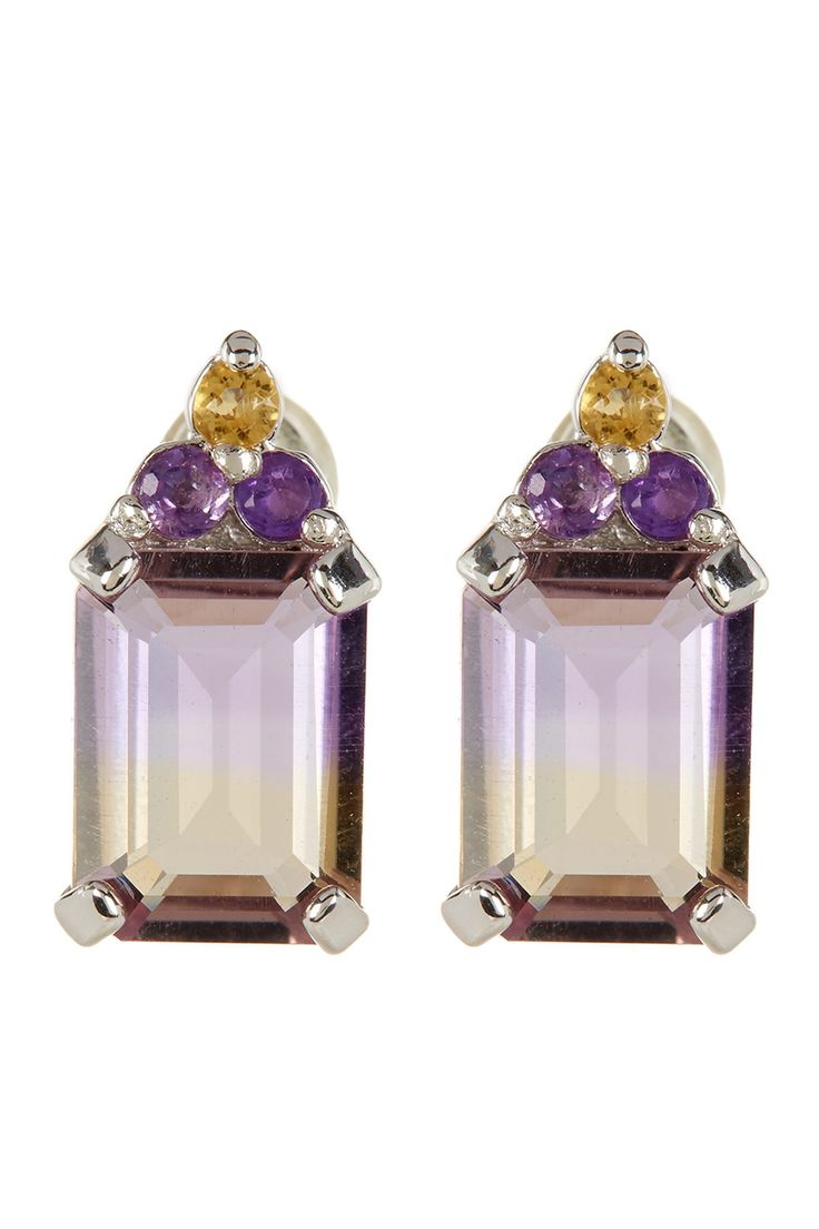 Sterling Silver Ametrine Emerald Cut Stud Earrings by Savvy Cie on @HauteLook