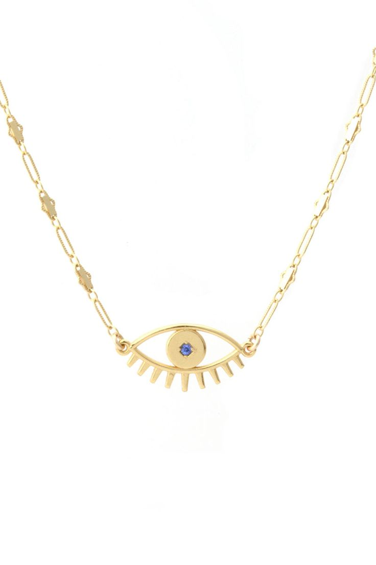 Keeping all bad juju away from you you! Let this pretty piece protect you from bad vibes and spread the love to one and all! 15 inches with a half inch extension chain. Made of gold filled chain, clasp and findings with a brass base evil eye charm with 18K gold plating and white or...