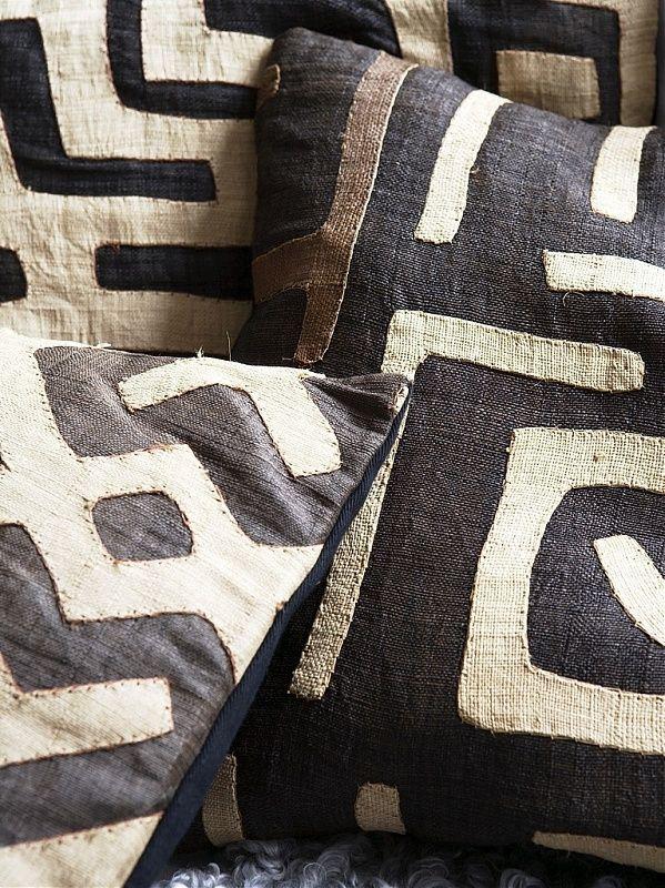 http://www.pinterest.com/joliesarts ∗  »☆Elysian-Interiors ♕Simply Divine #Interiordesign ~  Interior ~ African ~ ethnic ~ accents ~ Kuba cloth