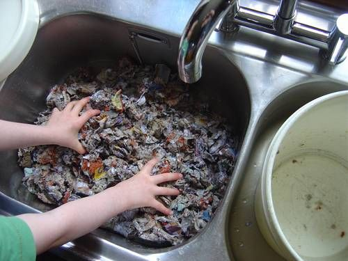 Papier Mache pulp making tutorial.  You will need:  - Glossy magazines  - Egg cartons  - Colander  - Drainage bag  - Papier mache paste of choice  - Electrical tools (adults only!)