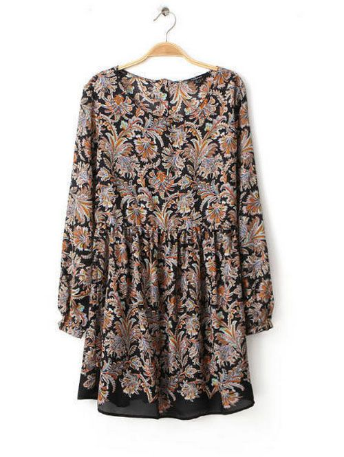 Dresses for women vintage long sleeve printed clothing CY-B1028L3