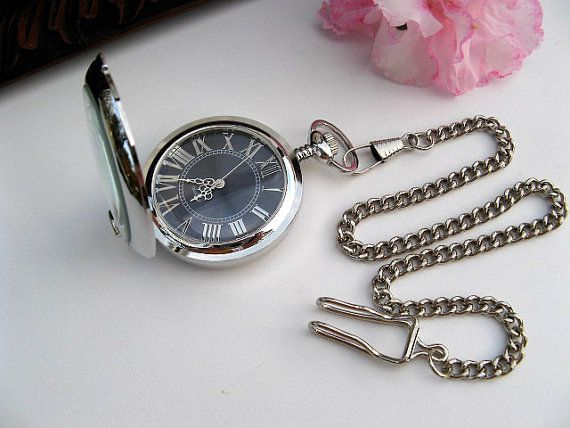 Silver and Blue Quartz Pocket Watch - Engravable - Converts to stand up clock by Art Inspired Gifts, $34.00. Web Store can be found on Etsy.