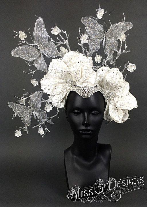 Silver & White Butterfly Headdress by MissGDesignsShop on Etsy