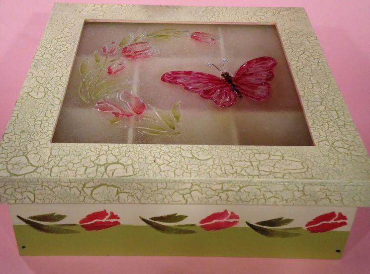 Como hacer una caja de te con dimensionales y lacas vitrales