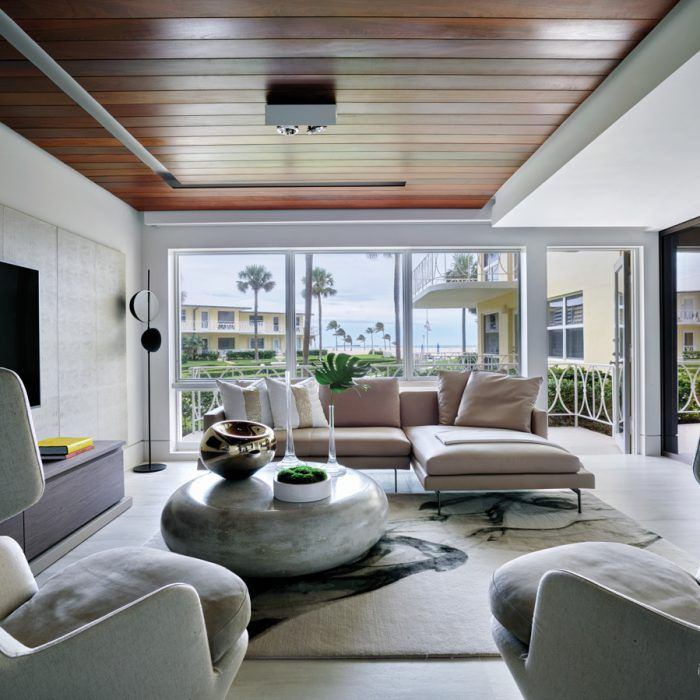 A Midcentury Fort Lauderdale Co Op Goes Modern Luxe Interiors Luxe Living Room Living Design