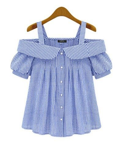 Blouse Off Shoulder Women Plus Size 2017 New Fashion Plaid Pattern Ladies Sexy Off The Shoulder Checkered Blouses Free Shipping