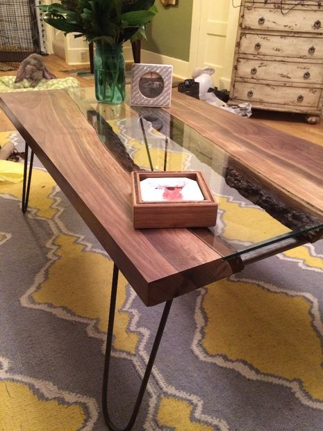 A live edge coffee table with glass down the center? Swoon.