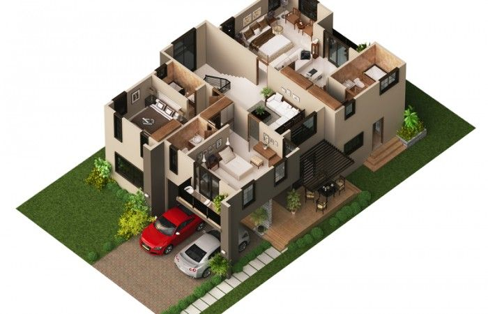Modern house plan 2014002 pinoy house plans 3d floor for Small house plan design 3d