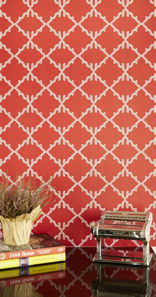 Moroccan Diamond removable wallpaper in Vermillion Red