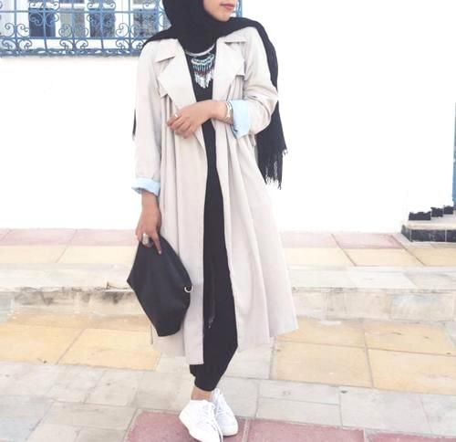 white creamy coat hijab outfit