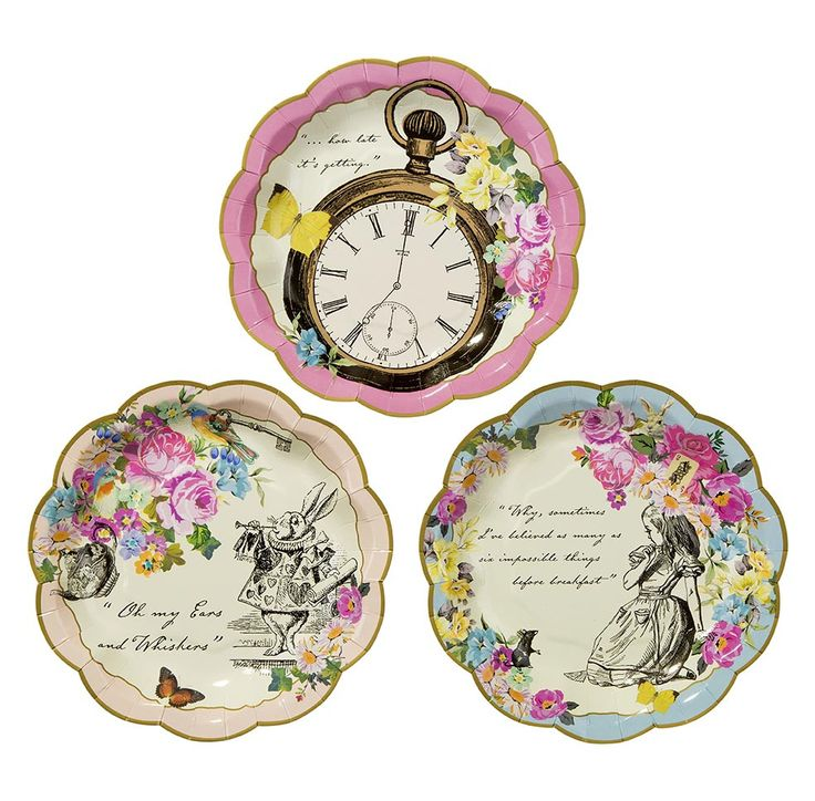 Create a Mad Hatter tea party with these dainty scalloped edged paper plates. Featuring 3 colorful designs - a pocket watch design with pink floral trim, March hare with cream floral trim, and a blue