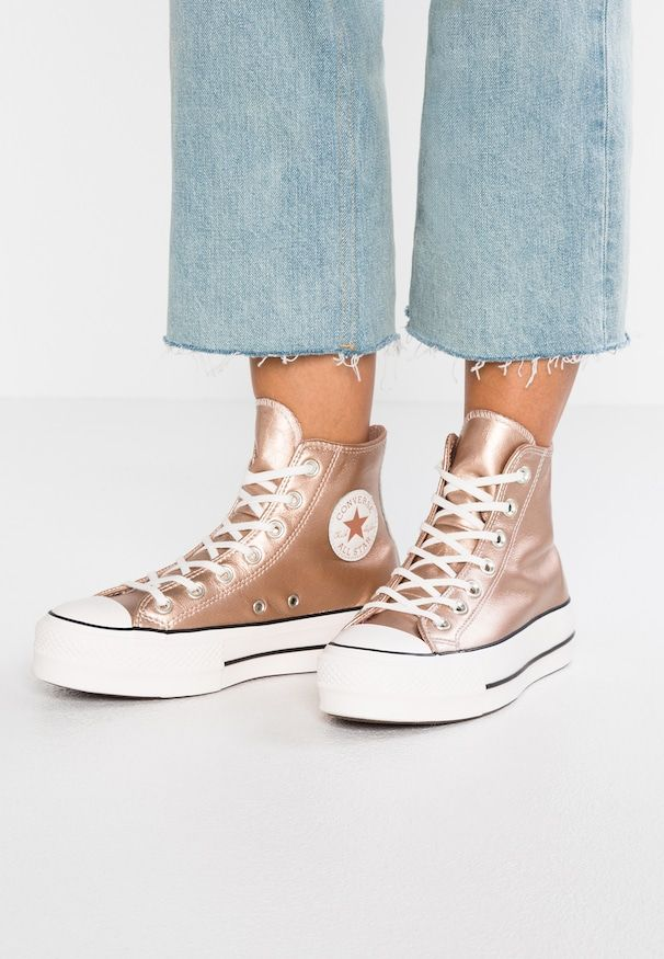 reputable site 0b765 64bba CHUCK METALLIC PLATFORM - Sneakers alte - particle beige snow white black    Love Converse   Sneakers, Converse chuck taylor high e High Top Sneakers