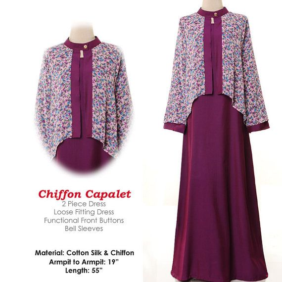 Spring Floral Chiffon Capalet Islamic Fashion Abaya Long Sleeves Maxi Dress Size S/M - 4255 Plum, $28.00