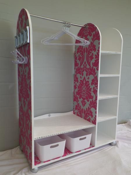 Isn't this fun?  I love the added wall paper on this play dress up station | Do It Yourself Home Projects from Ana White - DIY Plans