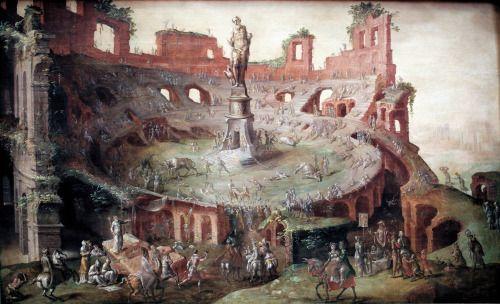 Grand Foyer De L Art Roman : Course de taureaux � l antique dans le colis�e en ruines