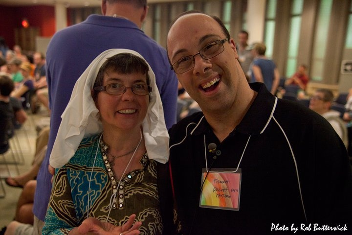 Toinette, Executive Director L'Arche London and Robert have a laugh.