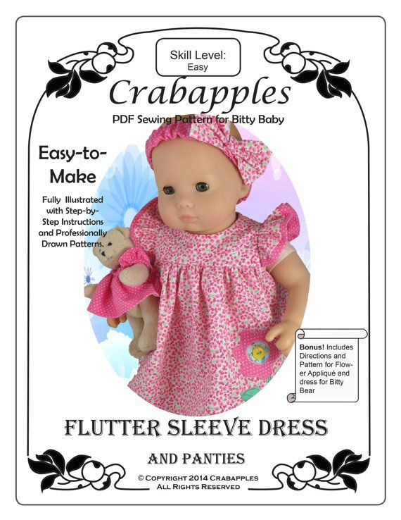 PDF Pattern for Bitty Baby and other 18 by CrabapplesBoutique