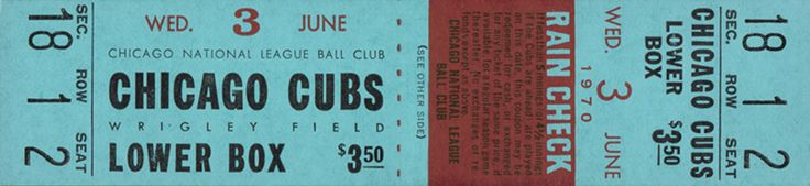 The  Regular Season  ticket for the Chicago Cubs game vs the Los Angeles Dodgers on Jun 03, 1970.