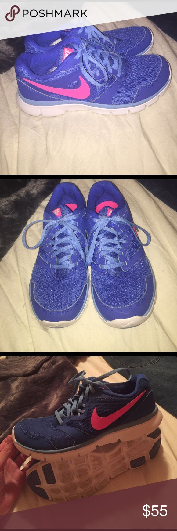 Blue and pink Nike sneakers tennis shoes Nike flex experience RN 3 shoes. Great for sports, errands, running, etc. really fun colors. Only worn once and just around the house to test out but too small on me. Super cute! Nike Shoes Athletic Shoes