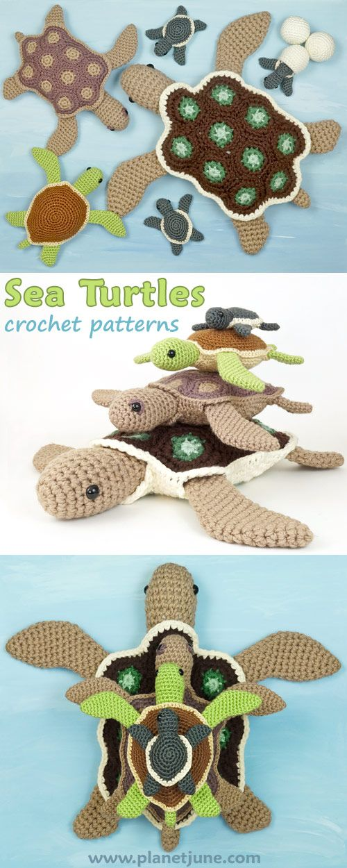 Crochet an entire family of sea turtles with all these PlanetJune patterns! Choose baby sea turtles with eggs and hatchlings, and adult turtles with plain or patterned shells. Change yarn and hook size to make even more possibilities.