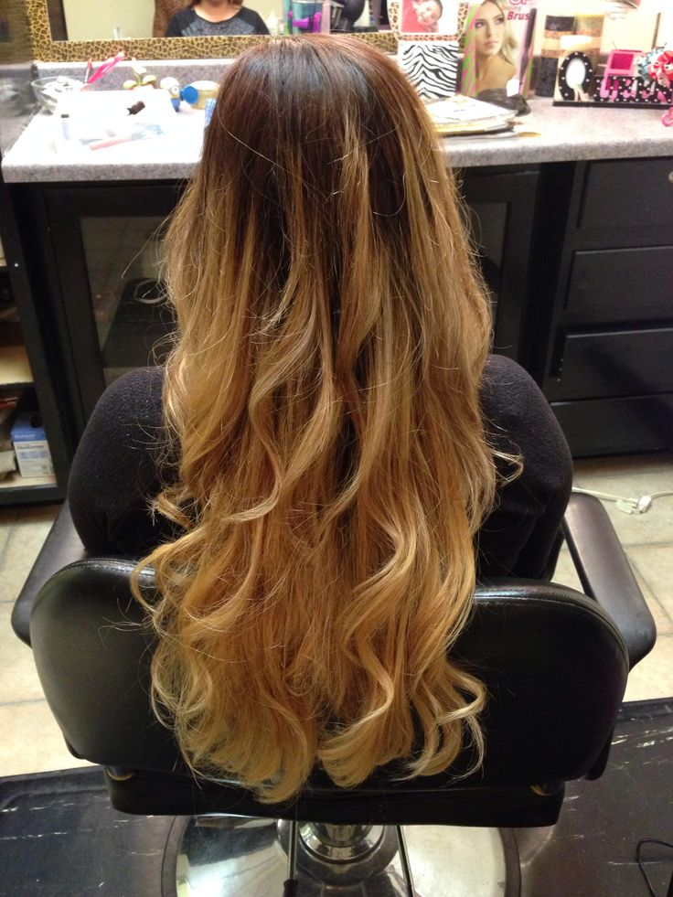 Golden Ombre I did on a client w/ very dark hair. It is possible to get a beautiful blonde on dark Hispanic hair!