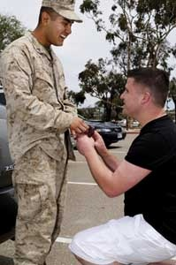 Discharged under DADT, Cory Huston proposes to boyfriend PFC Avarice Guerrero (USMC) at Camp Pendleton as he returned from Afghanistan.