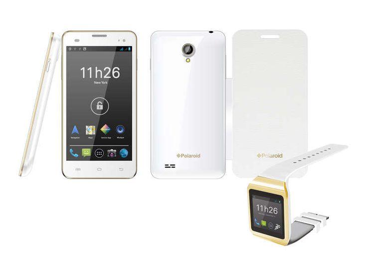 Smartphone + montre connectée + folio POLAROID TOPAZ + PWATCH Blanc et Or prix promo Conforama 189.00 € au lieu de 219 €