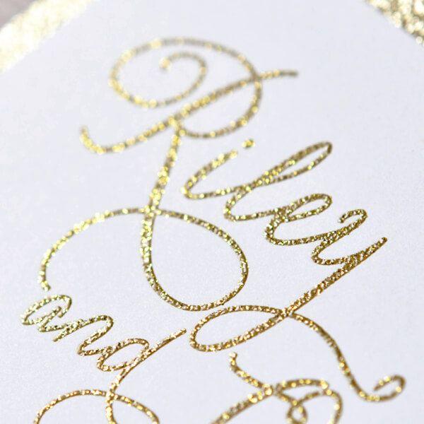 Gold Wedding Invitations Glitter Shine Velvet Print, Bespokable Invitations Calligraphy, A set Of 100 by luxuryweddinvitation on Etsy