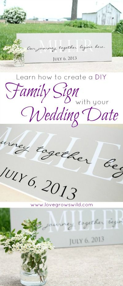 Learn how to create a DIY Family Sign personalized with your wedding date! Also makes a great gift for showers and weddings! Get the how-to at LoveGrowsWild.com #wedding #diy