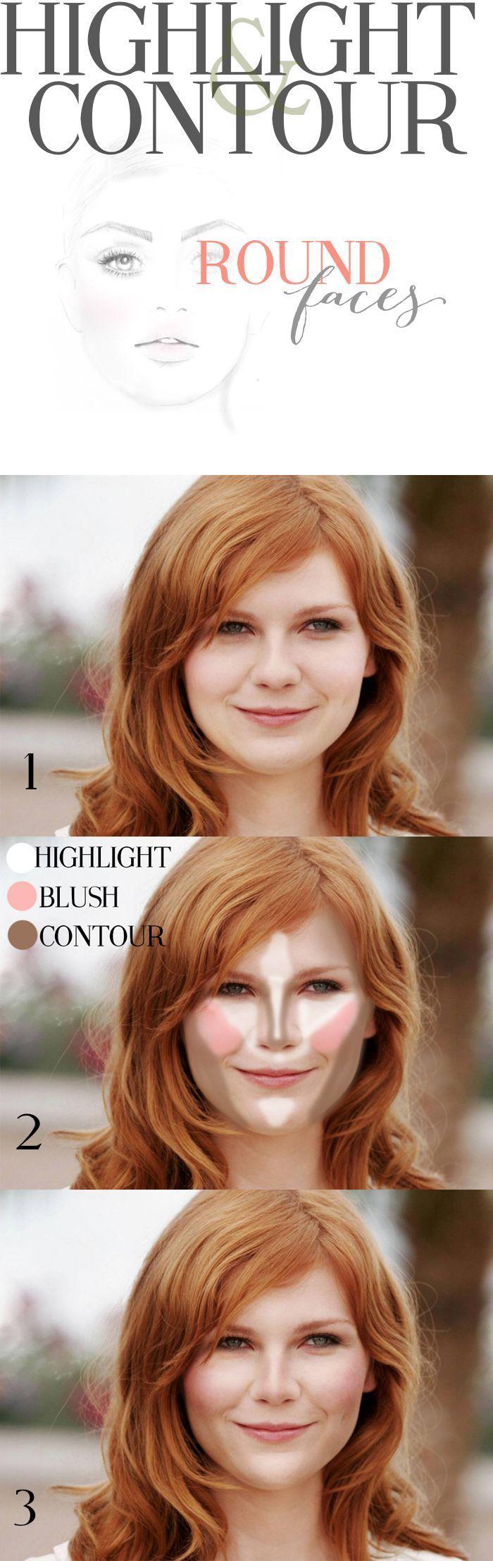 Face shape-round highlighting and contouring @Cara K K K K K Ferrier