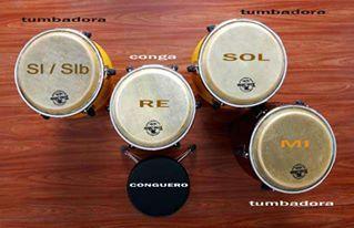 Ejemplo de afinación de set de 4 congas. Imagen extraída de www.shaddy.it