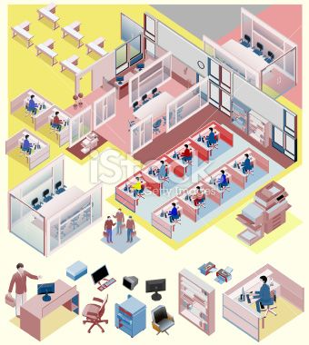 set of office isometric vector. workstation, people, manager, sales Royalty Free Stock Vector Art Illustration