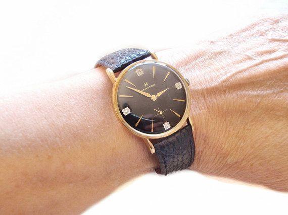 Vintage Hamilton Watch Black and Diamond Dial by ArtDecoAntiques