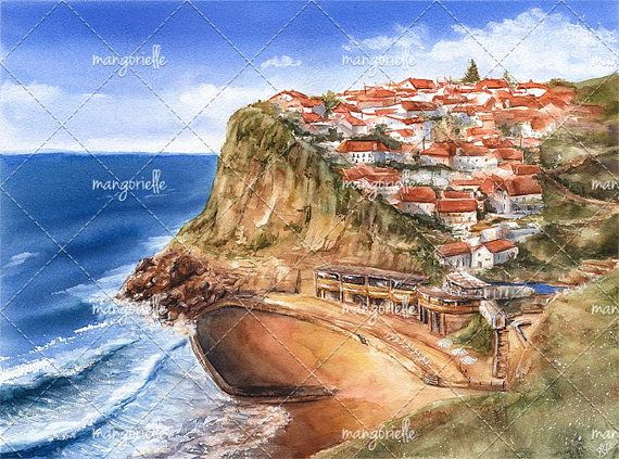 Its my original sunny watercolor landscape of incredibly picturesque place in Sintra, Portugal - Azenhas do Mar town, which is located on the Atlantic coast :)  #painting #watercolor #art #portugal #present #giftforchristmas #seaside #watercolorforsale