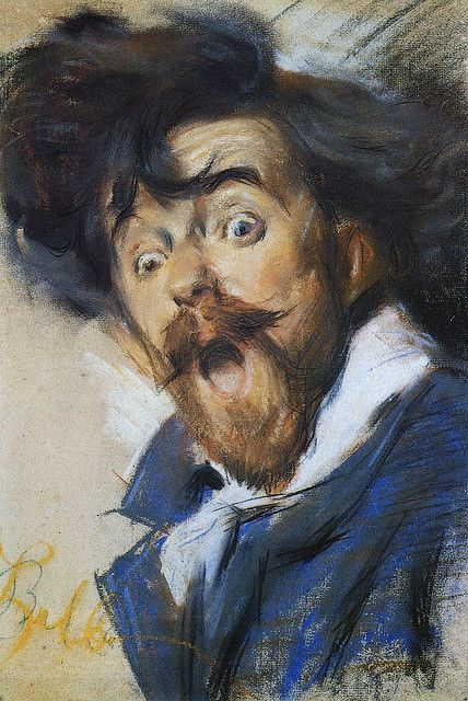 "Giacomo Balla, (Italian, 1871 - 1958) Self-Portrait ""Autosmorfia"", 1900 ~ Artist and founding member of the Futurist movement in painting."