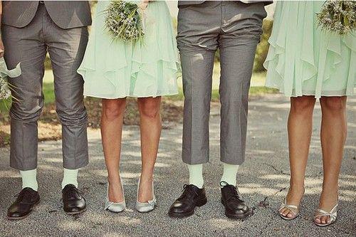 Mint bridesmaid dresses and mint groomsmens' socks :)