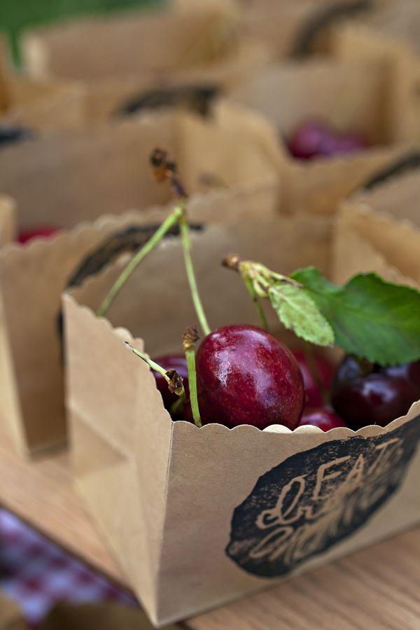 Cherries in custom printed kraft paper bags | favors, gifts, etc.