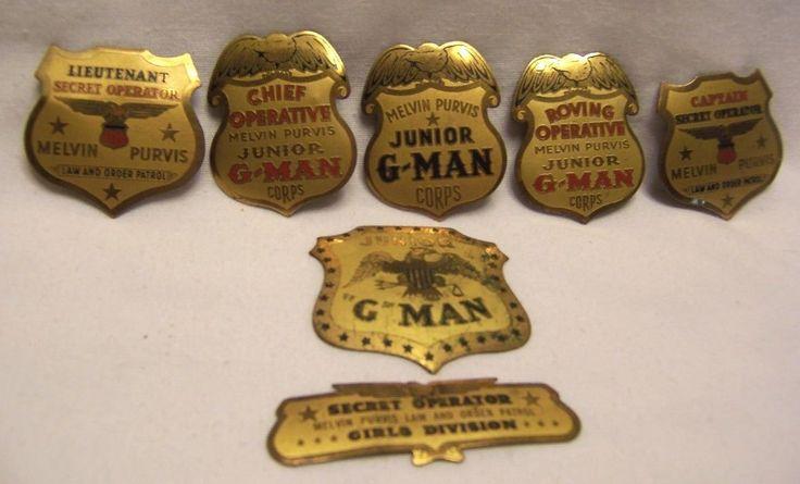 1936 Melvin Purvis Junior G Man Badges Premium Collection of 7 | eBay